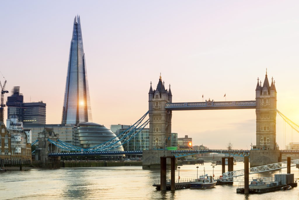 London, Tower Bridge and the Shard at Sunset; Shutterstock ID 358609280