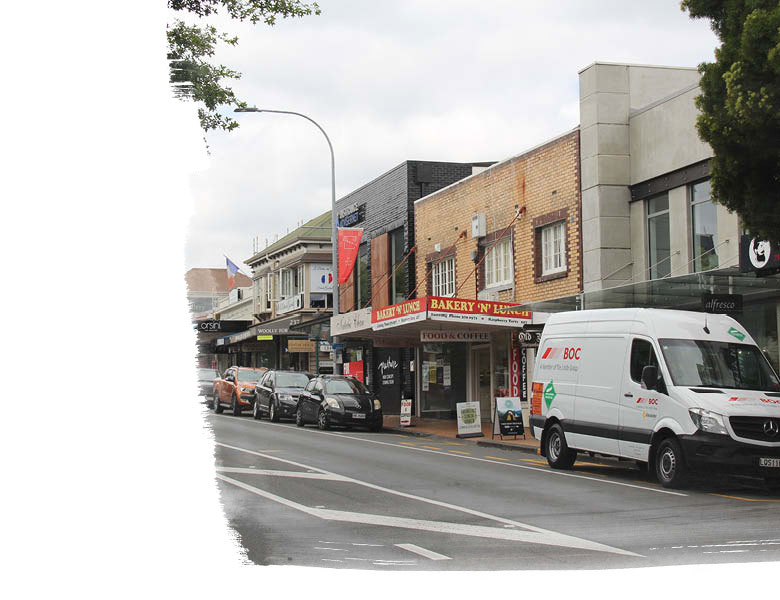 Shops on Parnell Street in Auckland