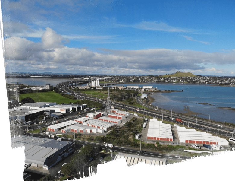 Auckland Onehunga industrial buildings drone shot
