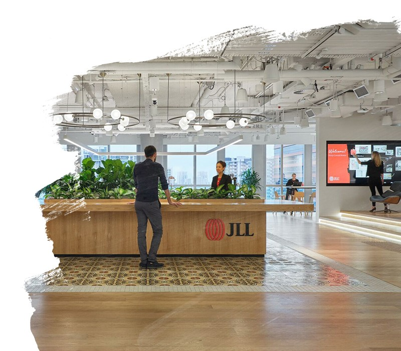People talking at JLL office reception